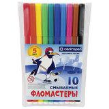 """Фломастеры CENTROPEN, 10 цветов, """"Пингвины"""", смываемые, вентилируемый колпачок, полибег, 7790/10"""