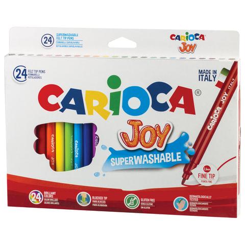 """Фломастеры CARIOCA (Италия) """"Joy"""", 24 цвета, суперсмываемые, вентилируемый колпачок, картонная коробка, 40615"""