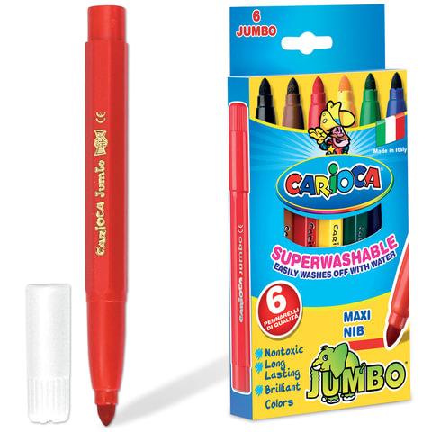 Фломастеры утолщенные CARIOCA JUMBO, 6 цветов, вентилируемый колпачок, картонная коробка, 40568