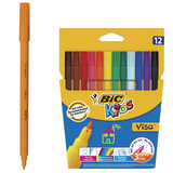 """Фломастеры BIC """"VISA"""", 12 цветов, суперсмываемые, вентилируемый колпачок, европодвес, 888695"""