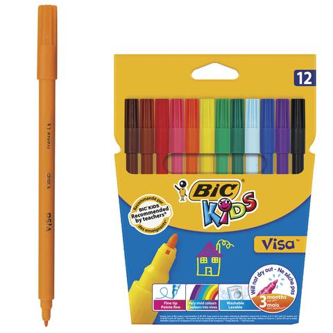 """Фломастеры BIC """"VISA"""" (Франция), 12 цветов, суперсмываемые, вентилируемый колпачок, картонная упаковка с европодвесом, 888695"""