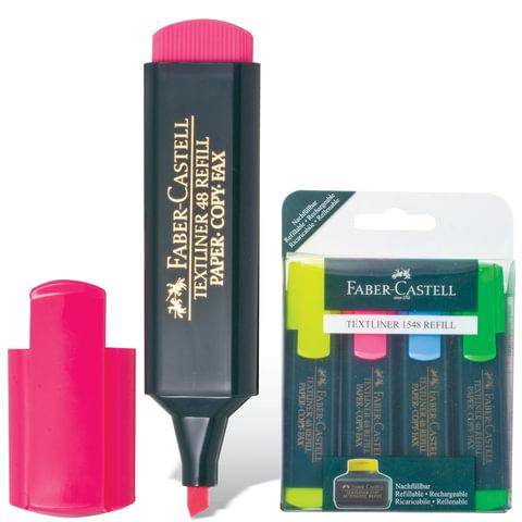 Текстмаркеры FABER-CASTELL, набор 4 шт., флуоресцентные цветные, 1-5 мм (желтый, розовый, синий, зеленый), FC154804