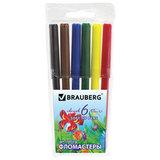 """Фломастеры BRAUBERG """"Wonderful butterfly"""", 6 цветов, вентилируемый колпачок, пластиковая упаковка, увеличенный срок службы, 150521"""