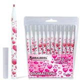 """Фломастеры BRAUBERG """"Sweetheart"""", 12 цветов, вентилируемый колпачок, корпус с печатью, пластиковая упаковка, 150534"""