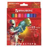 """Фломастеры BRAUBERG """"Star Patrol"""", 12 цв., вентилируемый колп., карт. упаковка, увелич. срок службы, 150544"""