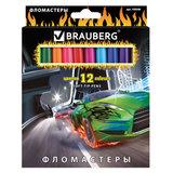 """Фломастеры BRAUBERG """"InstaRacing"""", 12 цветов, вентилируемый колпачок, карт. упаковка, выборочный лак, увел. срок службы, 150548"""