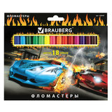 """Фломастеры BRAUBERG """"InstaRacing"""", 18 цветов, вентилируемый колпачок, карт. упаковка, выборочный лак, увел. срок службы, 150549"""