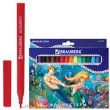 """Фломастеры BRAUBERG """"Морские легенды"""", 18 цветов, вентилируемый колпачок, картонная упаковка с блестками, 150553"""