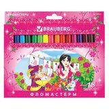 """Фломастеры BRAUBERG """"Rose Angel"""", 18 цветов, вентилируемый колпачок, картонная упаковка, увеличенный срок службы, 150557"""