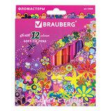 """Фломастеры BRAUBERG """"Blooming flowers"""", 12 цветов, вентилируемый колпачок, картонная упаковка с фольгой, 150560"""