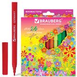 """Фломастеры BRAUBERG """"Blooming flowers"""", 24 цвета, вентилируемый колпачок, картонная упаковка с радужной фольгой, 150562"""