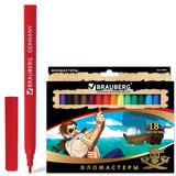 """Фломастеры BRAUBERG """"Корсары"""", 18 цветов, вентилируемый колпачок, картонная упаковка с золотистым тиснением, 150565"""