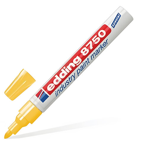 Маркер перманентный для промышленной графики EDDING, 2-4 мм, круглый наконечник, желтый, Е-8750/5
