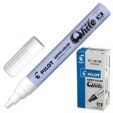 Маркер-краска лаковый (paint marker) PILOT, 2 мм, круглый наконечник, алюминиевый корпус, белый, SC-W-M
