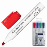 """Маркеры для доски STAEDTLER (Германия) """"Lumocolor"""", набор 4 штуки, скошенные, 2-5 мм (черный, синий, красный, зеленый), 351 B WP4"""