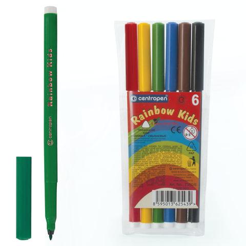 """Фломастеры CENTROPEN """"Rainbow Kids"""", 6 цветов, смываемые, эргономичные, вентилируемый колпачок, 7550/06"""