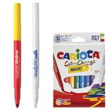 """Фломастеры CARIOCA """"Color Change"""", 10 штук, 9 цветов + 1 изменяющий цвет, утолщенный наконечник, смываемые, 42737"""