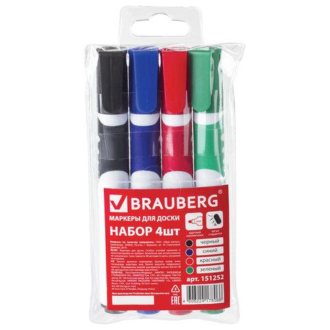 Маркеры для доски BRAUBERG SOFT, НАБОР 4 шт., АССОРТИ, резиновая вставка, круглый наконечник, 5 мм, 151252