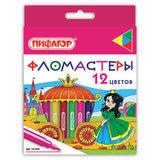 """Фломастеры ПИФАГОР """"Принцессы"""", 12 цветов, вентилируемый колпачок, 151405"""