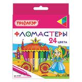 """Фломастеры ПИФАГОР """"Принцессы"""", 24 цвета, вентилируемый колпачок, 151407"""