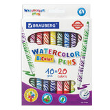 """Фломастеры двусторонние утолщенные BRAUBERG """"PREMIUM"""" """"BI-COLOR"""", 10 шт., 20 цветов, двухцветные, вентилируемый колпачок, 151664"""