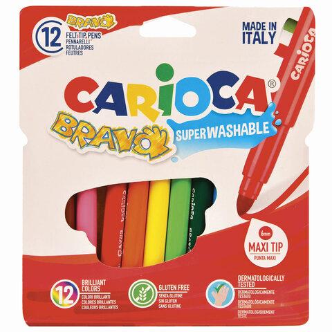 """Фломастеры утолщенные CARIOCA (Италия) """"Bravo"""", 12 цветов, суперсмываемые, 42755"""