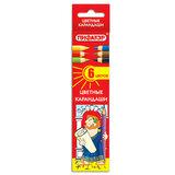 Карандаши цветные ПИФАГОР, 6 цветов, классические, заточенные, картонная упаковка, 180295
