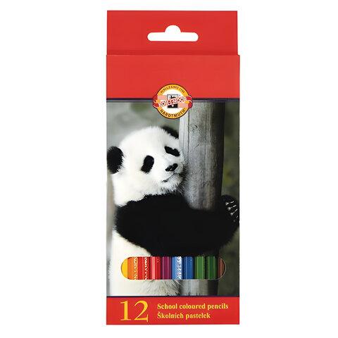 """Карандаши цветные KOH-I-NOOR """"Animals"""", 12 цветов, грифель 2,8 мм, заточенные, картонная упаковка с европодвесом, 3552012008KSRU"""