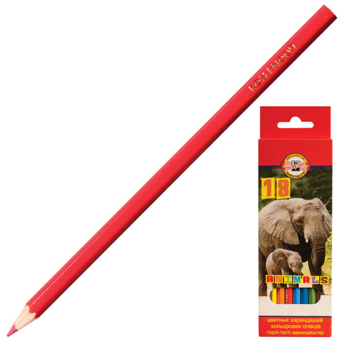 """Карандаши цветные KOH-I-NOOR """"Animals"""", 18 цветов, грифель 2,8 мм, заточенные, картонная упаковка с европодвесом, 3553018008KSRU"""