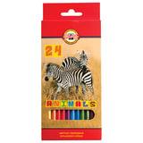 """Карандаши цветные KOH-I-NOOR """"Animals"""", 24 цвета, грифель 2,8 мм, заточенные, европодвес, 3554024008KSRU"""