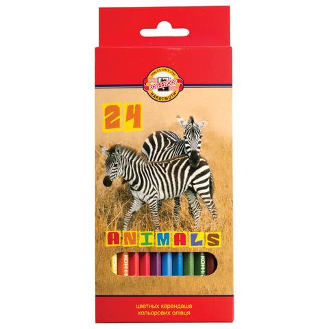 """Карандаши цветные KOH-I-NOOR """"Animals"""", 24 цвета, грифель 2,8 мм, заточенные, картонная упаковка с европодвесом, 3554024008KSRU"""