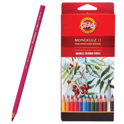 """Карандаши цветные акварельные художественные KOH-I-NOOR """"Mondeluz"""", 12 цветов, 3,8 мм, заточенные, европодвес, 3716012001KSRU"""