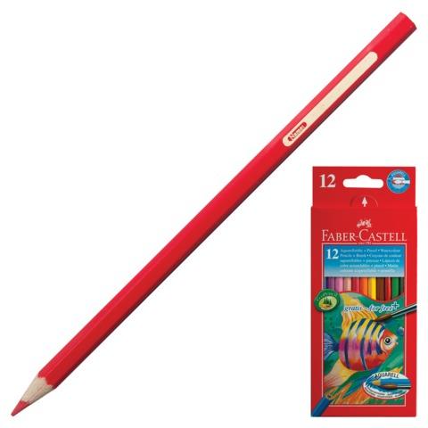 """Карандаши цветные акварельные FABER-CASTELL (Германия) """"Colour Pencils"""", 12 цв., с кисточкой, картонная упаковка, 114413"""