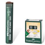 Грифели запасные 0,5 мм, B, FABER-CASTELL, КОМПЛЕКТ 12 шт., 521501