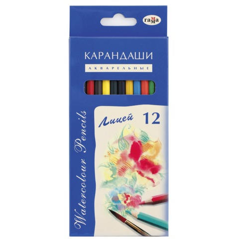 """Карандаши цветные акварельные ГАММА """"Лицей"""", 12 цветов, картонная упаковка с европодвесом, 261019"""