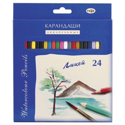 """Карандаши цветные акварельные ГАММА """"Лицей"""", 24 цвета, картонная упаковка с европодвесом, 261020"""