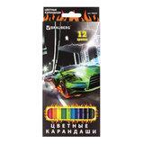 """Карандаши цветные BRAUBERG """"InstaRacing"""", 12 цветов, заточенные, картонная упаковка с отделкой выборочным лаком, 180533"""