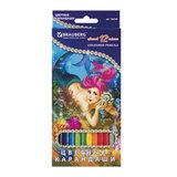 """Карандаши цветные BRAUBERG """"Морские легенды"""", 12 цв., заточенные, картонная упаковка с блестками, 180538"""