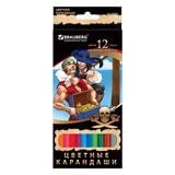 """Карандаши цветные BRAUBERG """"Корсары"""", 12 цветов, заточенные, картонная упаковка с фольгой, 180541"""