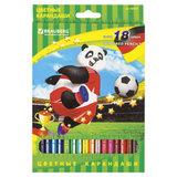 """Карандаши цветные BRAUBERG """"Football match"""", 18 цветов, заточенные, картонная упаковка, 180549"""