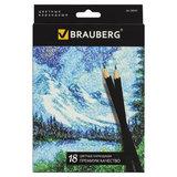 """Карандаши цветные BRAUBERG """"Artist line"""", 18 цветов, черный корпус, заточенные, высшее качество, 180554"""