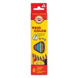 """Карандаши цветные KOH-I-NOOR """"Triocolor"""", 6 цв., трехгранные, грифель 3,2 мм, заточенные, картонная упаковка с европодвесом, 3131006004KSRU"""