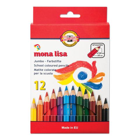 """Карандаши цветные утолщенные KOH-I-NOOR """"Mona Lisa"""", 12 цветов, 5,6 мм, заточенные, европодвес, 3372012007KS"""