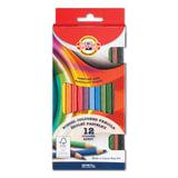 Карандаши цветные KOH-I-NOOR, 12 цв., круглое сечение корпуса, грифель 3,2 мм, заточенные, картонная упаковка с европодвесом, 2112012001KS