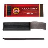 """Графитовые стержни KOH-I-NOOR, набор 6 шт., """"Gioconda"""", черные, картонная коробка, 4345002004PK"""