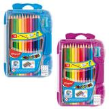 """Карандаши цветные MAPED (Франция) """"Color Pep's"""", 12 цветов, точилка+резинка+чернографитный карандаш, пластиковый пенал, 832032"""