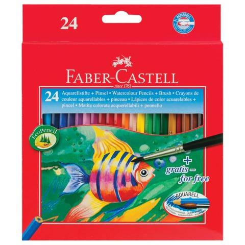 """Карандаши цветные акварельные FABER-CASTELL """"Colour Pencils"""", 24 цвета, с кисточкой, картонная упаковка, 114425"""
