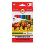 """Карандаши цветные утолщенные KOH-I-NOOR """"Triocolor"""", 12 цветов, трехгранные, грифель 5,6 мм, заточенные, 3142012005KS"""