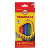 """Карандаши цветные KOH-I-NOOR """"Triocolor"""", 24 цвета, трехгранные, грифель 3,2 мм, европодвес, 3134024004KSRU"""