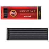 """Уголь искусственный для рисования KOH-I-NOOR, набор 6 шт., """"Gioconda"""", твердый, заточенный, пластиковая коробка, 8673003005PK"""